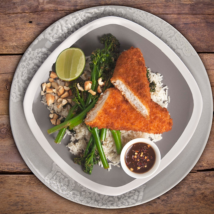 Crumbed-Fish-Sesame-Rice-And-An-Asian-Tender-Stem-Broccoli-Salad-With-Garlic-Soy-Honey-Dressing