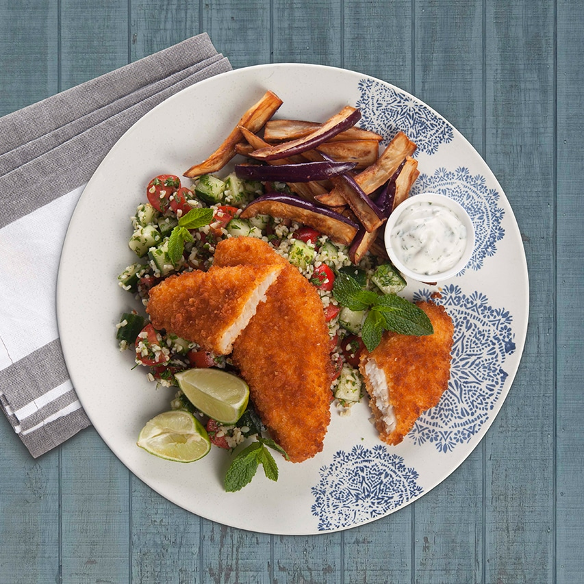 Crumbed-Fish-With-Mint-Yoghurt-Crispy-Aubergine-Fries-Tabbouleh-Salad