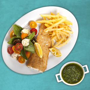 Fish-Friday-with-Chips-and-Salad-Served-With-Salsa-Verde