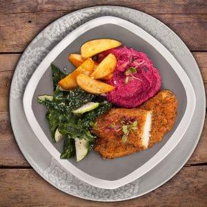 Garlic-Herb-Fish-With-Beetroot-Hummus-Potato-Wedges-Kale-Salad