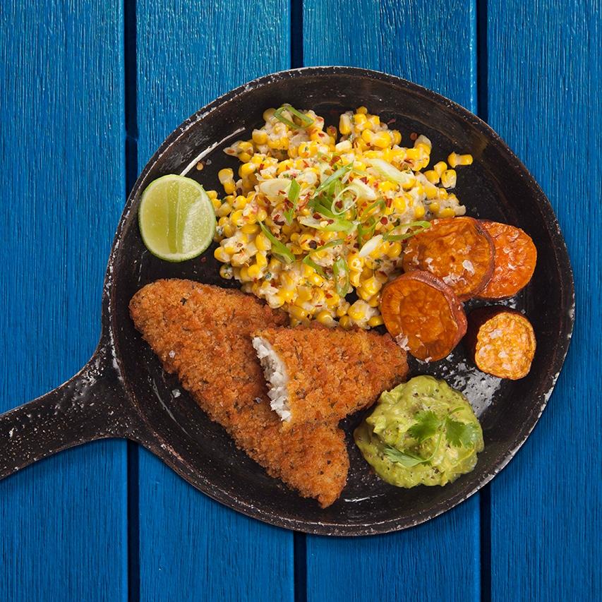 Garlic-Herb-Fish-With-Esquites-Corn-Salad-Sweet-Potato-Rounds-Avocado-Dip