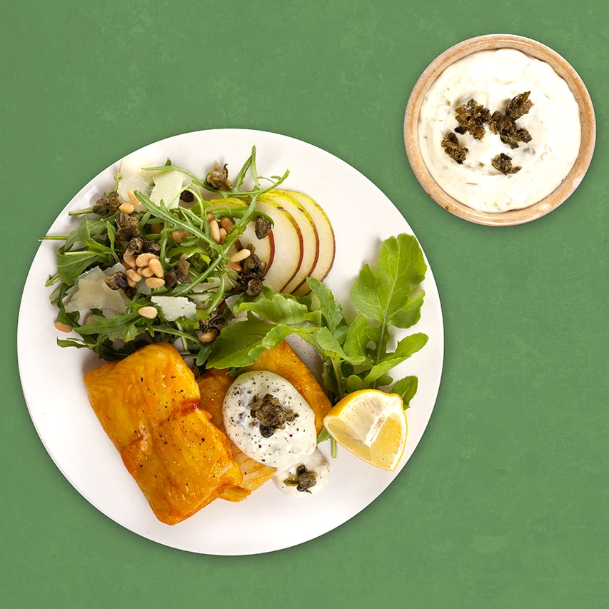 Haddock-Steaks-with-Caper-Mayonnaise-and-Rocket-Salad