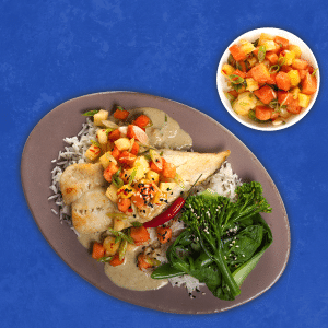 Hake-Fillets-with-Thai-Green-Curry-Basmati-Rice-and-Paw-Paw-Salad