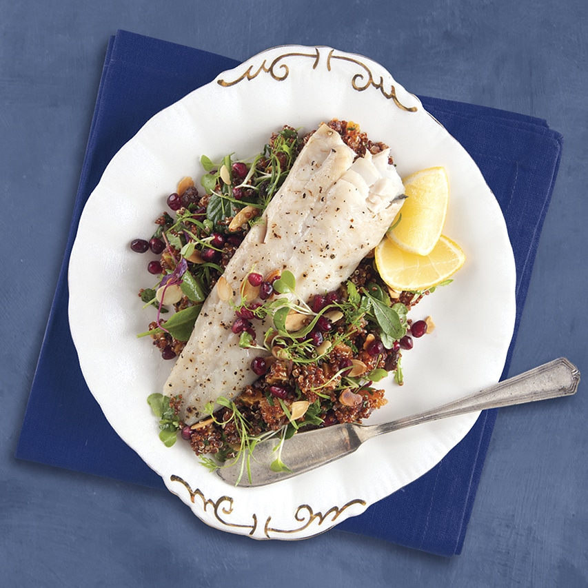 Hake-with-toasted-almonds-dried-apricotsraisin-quinoa